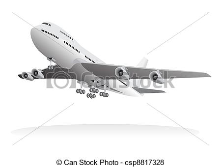 Vector of Passenger aircraft leaving ground.