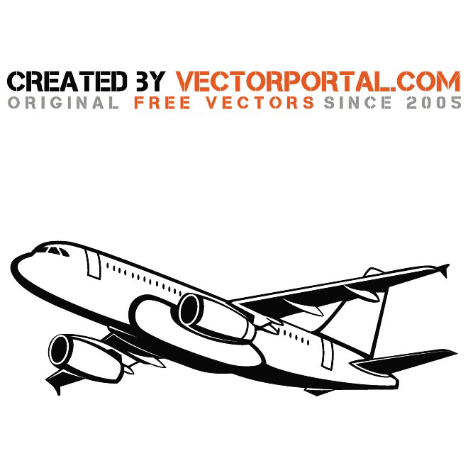 Passenger Airplane Free Vector.