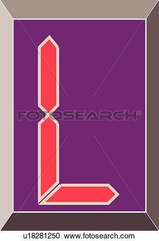 Clipart of Digital letter L u18281250.