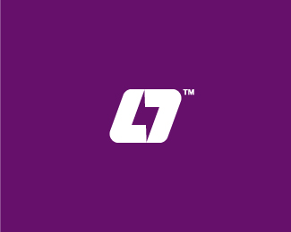 L7 logo for online sport stream channel. In the negative.