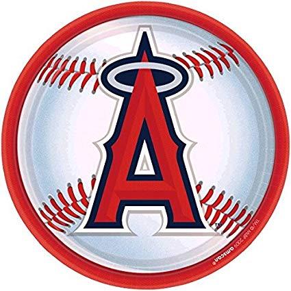 Amscan LA Angels Anaheim Round Dinner Plates, 9\
