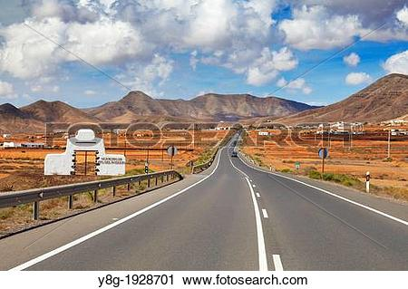 Stock Photography of Fuerteventura Island landscape, road to Moro.