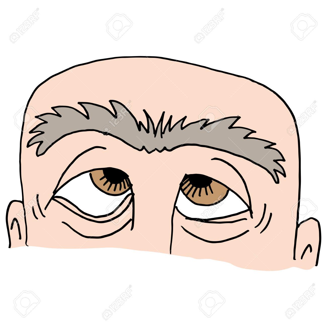Una Imagen Del Hombre Con La Ceja Cerrada. Ilustraciones.