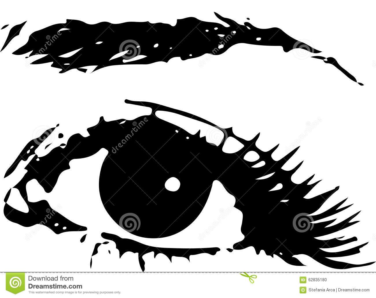 Ojo Femenino Humano Con La Ceja Como Vector Diseño Del Icono Sobre.