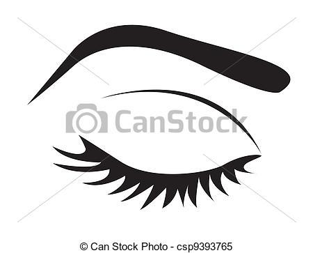 Clipart vectorial de ojo, silueta, ceja, latigazos.