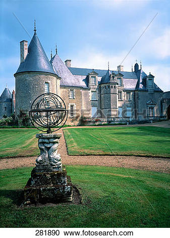 Stock Photography of Sculpture of sundial in front of castle.