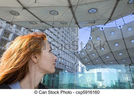 Stock Photography of Paris, portrait of woman under Arch de la.