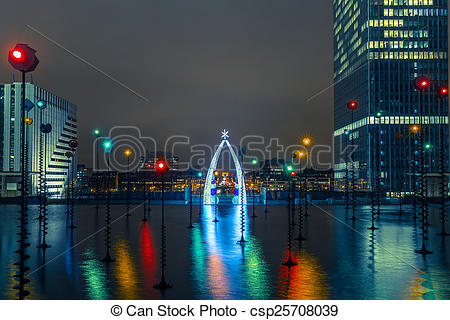 Stock Photos of Multicolored fountain in the Esplanade De La.
