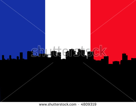 Skyline Of La Defense In Paris With French Flag Stock Vector.