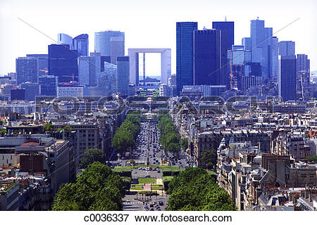 Picture of View of the Paris skyline with the Grande Arch De La.