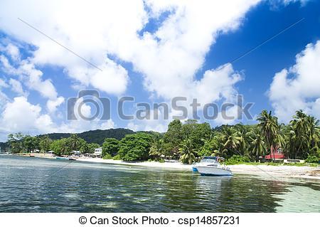 Stock Photos of La Digue island, Seychelles, Anse la Reunion.