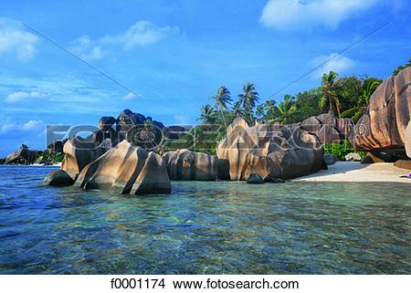 Stock Photo of Seychelles, La Digue Island, Source d'Argent Handle.