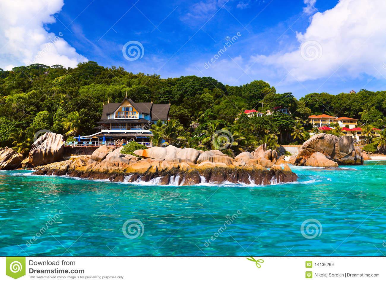 Hotel At Tropical Beach, La Digue, Seychelles Royalty Free Stock.