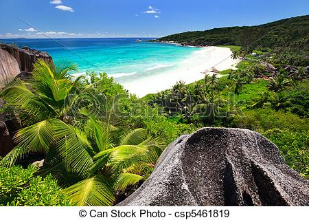 Stock Photographs of Grand Anse on La Digue island in Seychelles.