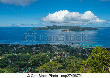 Stock Photo of Panorama of La Digue island from Nid d'Aigle.