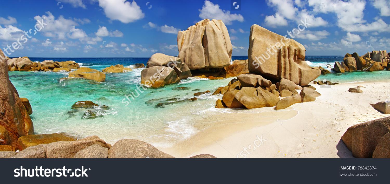 Panorama Rocky Beach On Seychelles La Stock Photo 78843874.