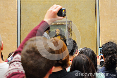 Tourists Take Pictures The Mona Lisa (Monna Lisa Or La Gioconda In.