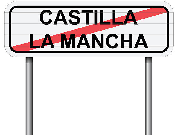 Exit Of Castilla La Mancha Spain Road Sign Vector Clip Art, Vector.