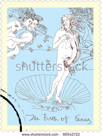 Nascita Di Venere Birth Venus Botticelli Stock Vector 90542722.