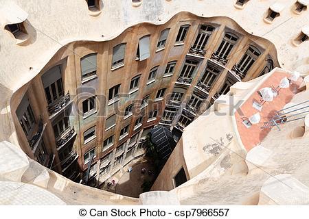 Picture of Gaudi designed apartment building La Pedrera.
