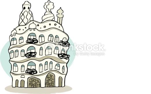Casa Mil Pedrera Barcelona Vector Art.