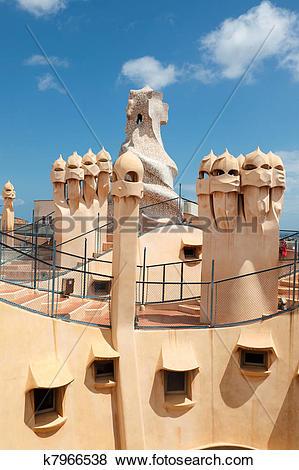 Pictures of Gaudi designed apartment building La Pedrera k7966538.