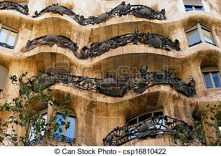 Stock Photo of Casa Mila (also called La Pedrera) by Antoni Gaudi.