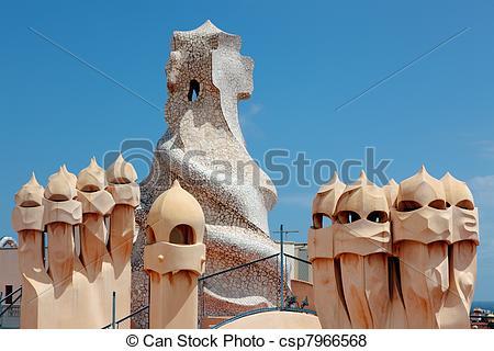 Pictures of Gaudi designed apartment building La Pedrera.