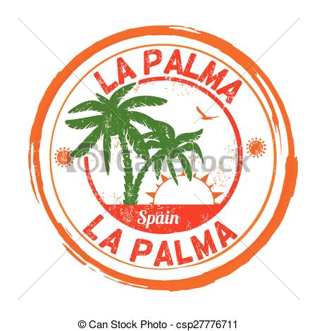 Vector Clip Art of La Palma stamp.