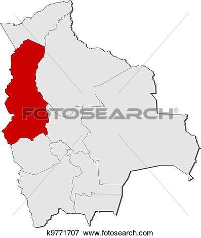 Clip Art of Map of Bolivia, La Paz highlighted k9771707.