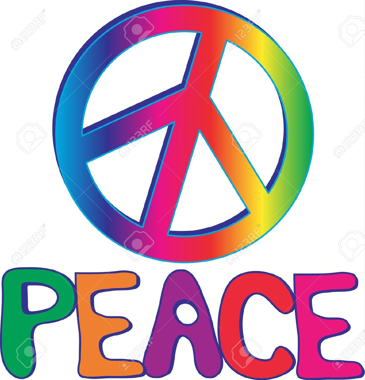 Peace Text With Peace Sign Royalty Free Cliparts, Vectors, And.