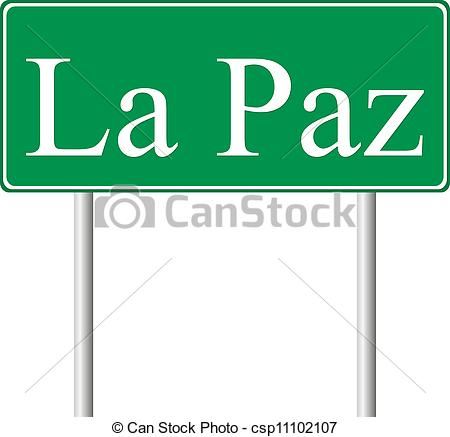 Vector Clipart of La Paz green road sign isolated on white.