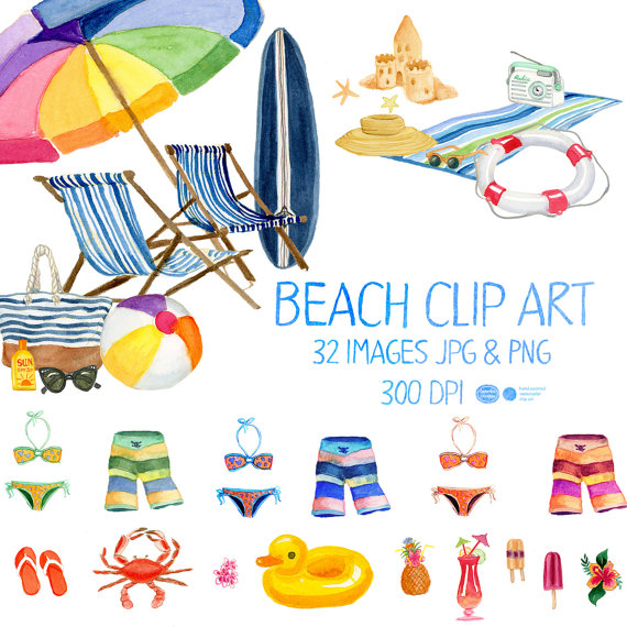 Imágenes Prediseñadas acuarela playa verano Clip Art, Clip.