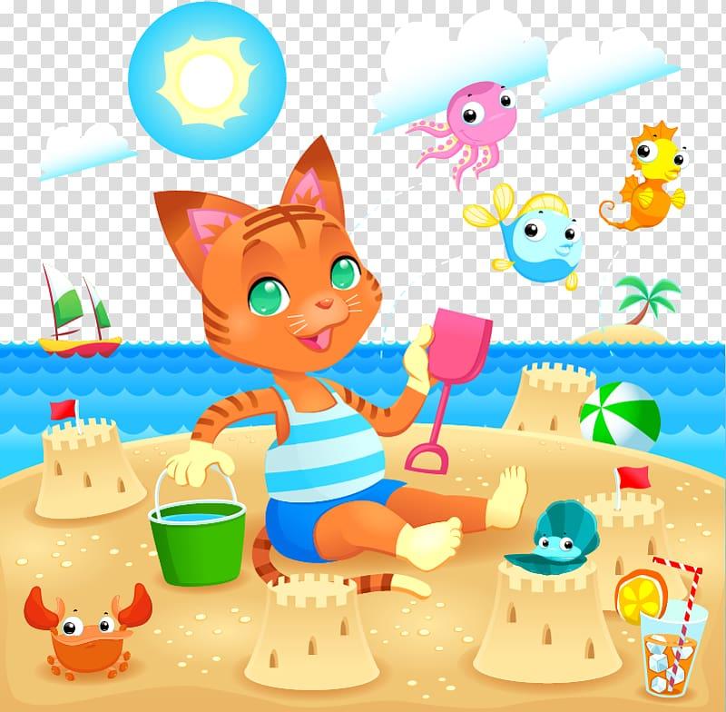 Playa de la Arena Beach Seaside resort Illustration.
