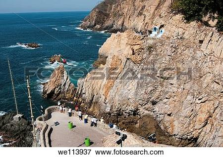 Picture of La Quebrada cliff Acapulco Guerrero Mexico 35m to water.