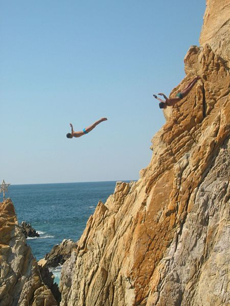 Acapulco,Mexico: the cliff divers in La Quebrada.