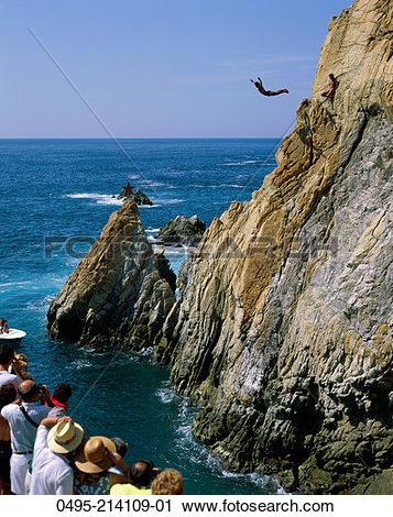 Stock Photography of Mexico, Acapulco, La Quebrada, Cliff Diver.