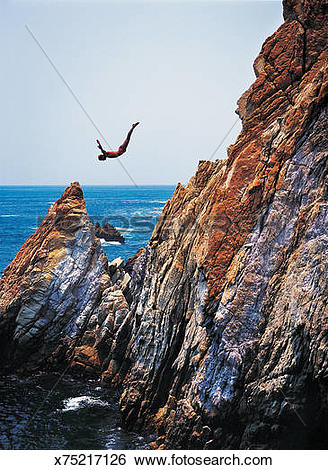 Stock Images of La Quebrada cliff diver, Acapulco, Mexico.