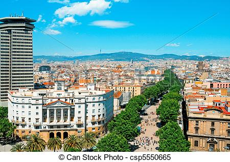 Stock Images of Aerial view of La Rambla of Barcelona, Spain.