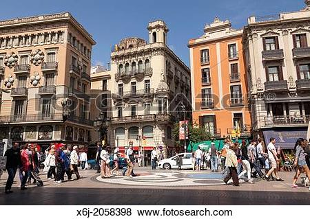 Pictures of Typical spanish buidings in La Rambla Barcelona. x6j.