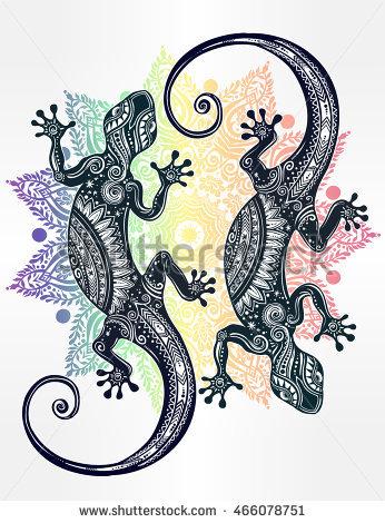 Gecko Tattoo Stock Photos, Royalty.