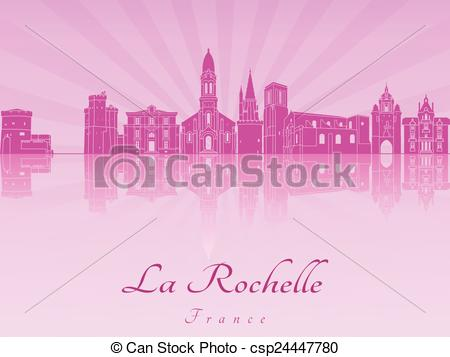 Vector of La Rochelle skyline in purple radiant orchid in editable.