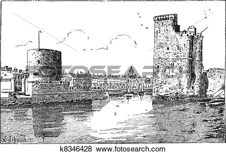 Clip Art of Port of La Rochelle, France, vintage engraving.