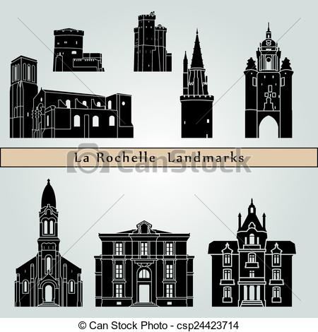 Vector Clip Art of La Rochelle landmarks and monuments isolated on.