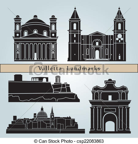 Clip Art Vector of Valletta landmarks and monuments isolated on.