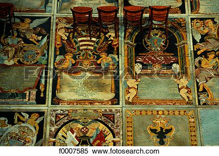 Stock Image of Malta, La Valette, St John cathedral, tombs of the.