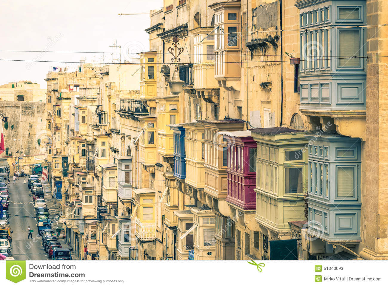 Typical Buildings And Balconies In La Valletta At Malta Stock.