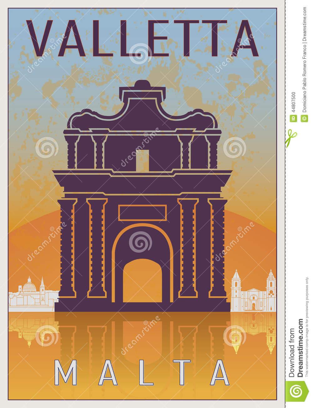 Valletta Vintage Poster Stock Vector.