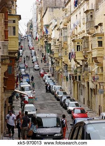 Stock Photo of Street in La Valletta,Malta island xk5.