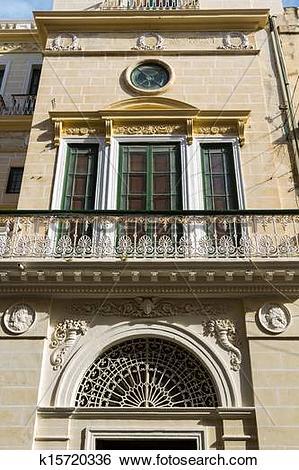 Stock Images of Malta La Valletta historical center intricately.